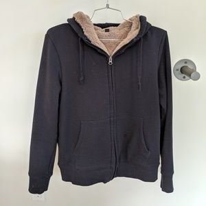 Navy hoodie with faux fur lining